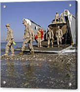 Marines Disembark From A Landing Craft Acrylic Print
