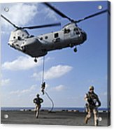 Marines Fast Rope From A Ch-46e Sea Acrylic Print