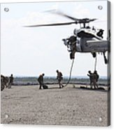 Marines Fast-rope Onto Their Objective Acrylic Print