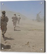 Marines Move Through A Dust Cloud Acrylic Print