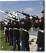 Marines Practices Drill Movements Acrylic Print