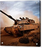 Marines Roll Down A Dirt Road Acrylic Print by Stocktrek Images