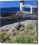 Marshall Point Lighthouse Summer Flowers Acrylic Print