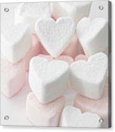 Marshmallow Love Hearts Acrylic Print by Kim Haddon Photography