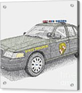 Maryland State Police Car 2012 Acrylic Print by Calvert Koerber
