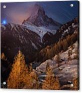 Matterhorn With Star Trail Acrylic Print