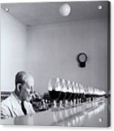 Mature Wine Tester With Row Of Glasses (b&w) Acrylic Print
