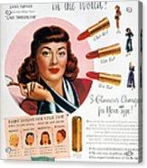 Max Factor Lipstick Ad Acrylic Print by Granger