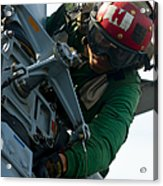 Mechanic Inspects An Mh-60r Sea Hawk Acrylic Print by Stocktrek Images