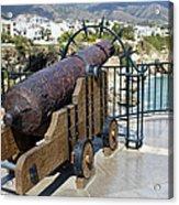 Medieval Cannon At The Balcon De Europa Acrylic Print