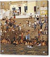 Men And Boys Bathe At An Ancient Ghat Acrylic Print