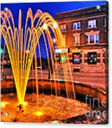 Menasha Lighted Fountain Acrylic Print