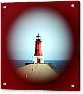 Menominee Lighthouse Through A Rivet Hole Acrylic Print