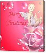 Merry Christmas Cherub And Rose Acrylic Print