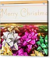 Merry Christmas Message With Colourful Bows Acrylic Print