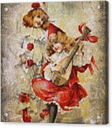 Merry Making Antique Girls In Red And White Grunge Acrylic Print