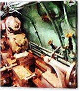 Metal Lathe In Submarine Acrylic Print