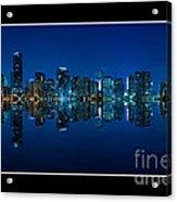 Miami Skyline Night Panorama Acrylic Print