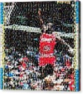 Michael Jordan Rookie Mosaic Acrylic Print by Paul Van Scott