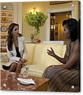 Michelle Obama And Queen Rania Acrylic Print by Everett