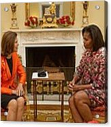 Michelle Obama And Queen Silvia Acrylic Print by Everett