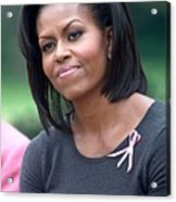 Michelle Obama At The Press Conference Acrylic Print