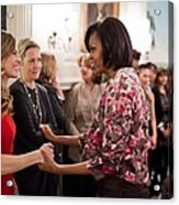 Michelle Obama Greets Actress Hilary Acrylic Print by Everett