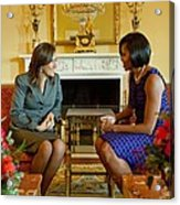 Michelle Obama Greets Mrs. Margarita Acrylic Print by Everett