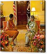 Michelle Obama Meets With Mrs Acrylic Print by Everett