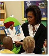 Michelle Obama Reads The Cat In The Hat Acrylic Print