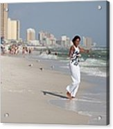 Michelle Obama Walks Barefoot Acrylic Print by Everett