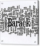 Michelle Obama Wordcloud At D N C Acrylic Print by David Bearden