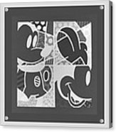 Mickey In Negative Black And White Acrylic Print