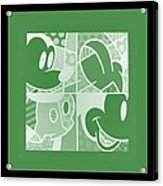 Mickey In Negative Olive Green Acrylic Print