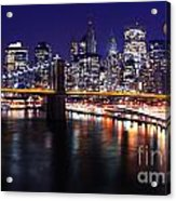 Midnight In The Shadow Of Brooklyn Bridge - Brooklyn Bridge Acrylic Print
