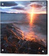 Midnight Sun Over Vågsfjorden Acrylic Print