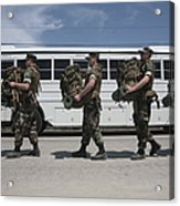 Midshipmen Carry Their Packs And Board Acrylic Print