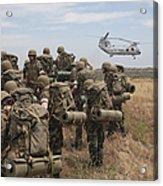 Midshipmen Watch As A U.s. Marine Corps Acrylic Print