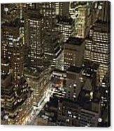 Midtown Manhattan Illuminated At Night Acrylic Print