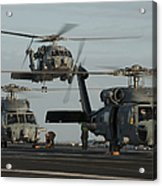 Military Helicopters Land On The Flight Acrylic Print