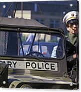 Military Policeman Stands Next Acrylic Print by Michael Wood