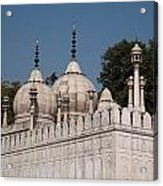 Minarets And Structure Of Pearl Mosque Inside Red Fort Acrylic Print