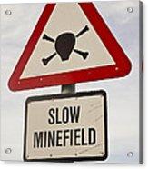Minefield Road Sign Falkland Islands Acrylic Print
