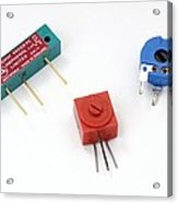 Mini Pcb Potentiometers Acrylic Print by Trevor Clifford Photography