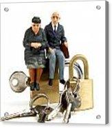Miniature Figurines Of Elderly Couple Sitting On Padlocks Acrylic Print