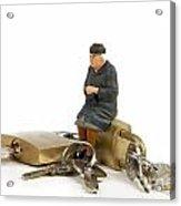Miniature Figurines Of Elderly Sitting On Padlocks Acrylic Print