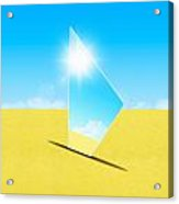 Mirror On Sand In Blue Sky Acrylic Print