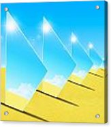 Mirrors On Sand In Blue Sky Acrylic Print