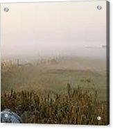 Misty Fields Divided By A Line Of Rocks Acrylic Print