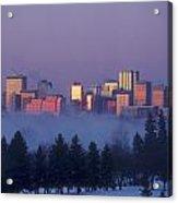 Misty Skyline, Edmonton, Alberta, Canada Acrylic Print